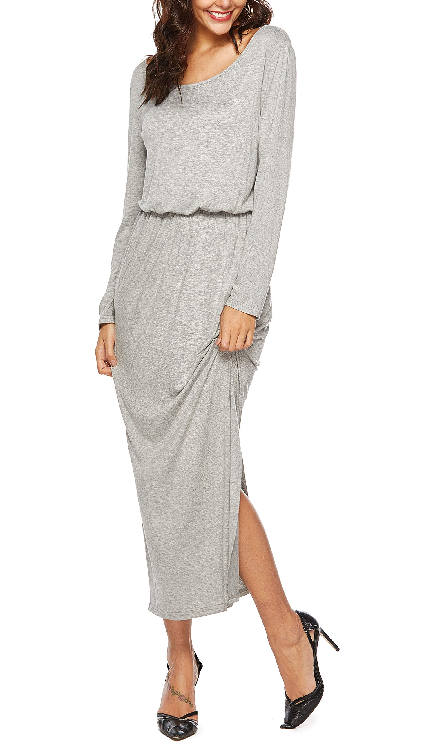 4f46bf58a7 titame Women Fall Casual Long Sleeve Flowy Maxi Dress with Pockets Light  Gray XL