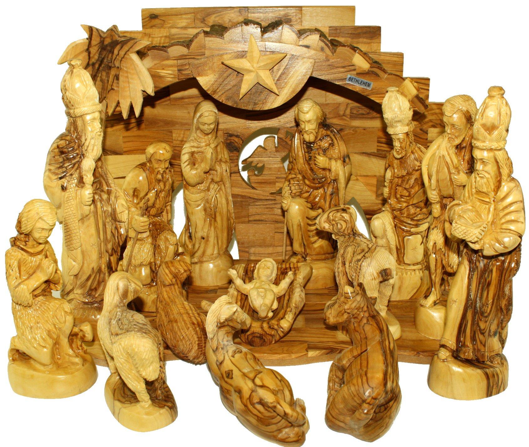 Large Olive Wood Nativity Set- Musical