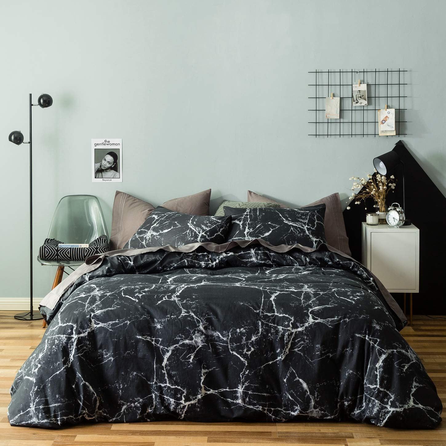 SUSYBAO 3 Pieces Duvet Cover Set 100% Natural Cotton Queen Size Black and White Marble Abstract Print Bedding with Zipper Ties 1 Duvet Cover 2 Pillowcases Luxury Quality Soft Comfortable Easy Care