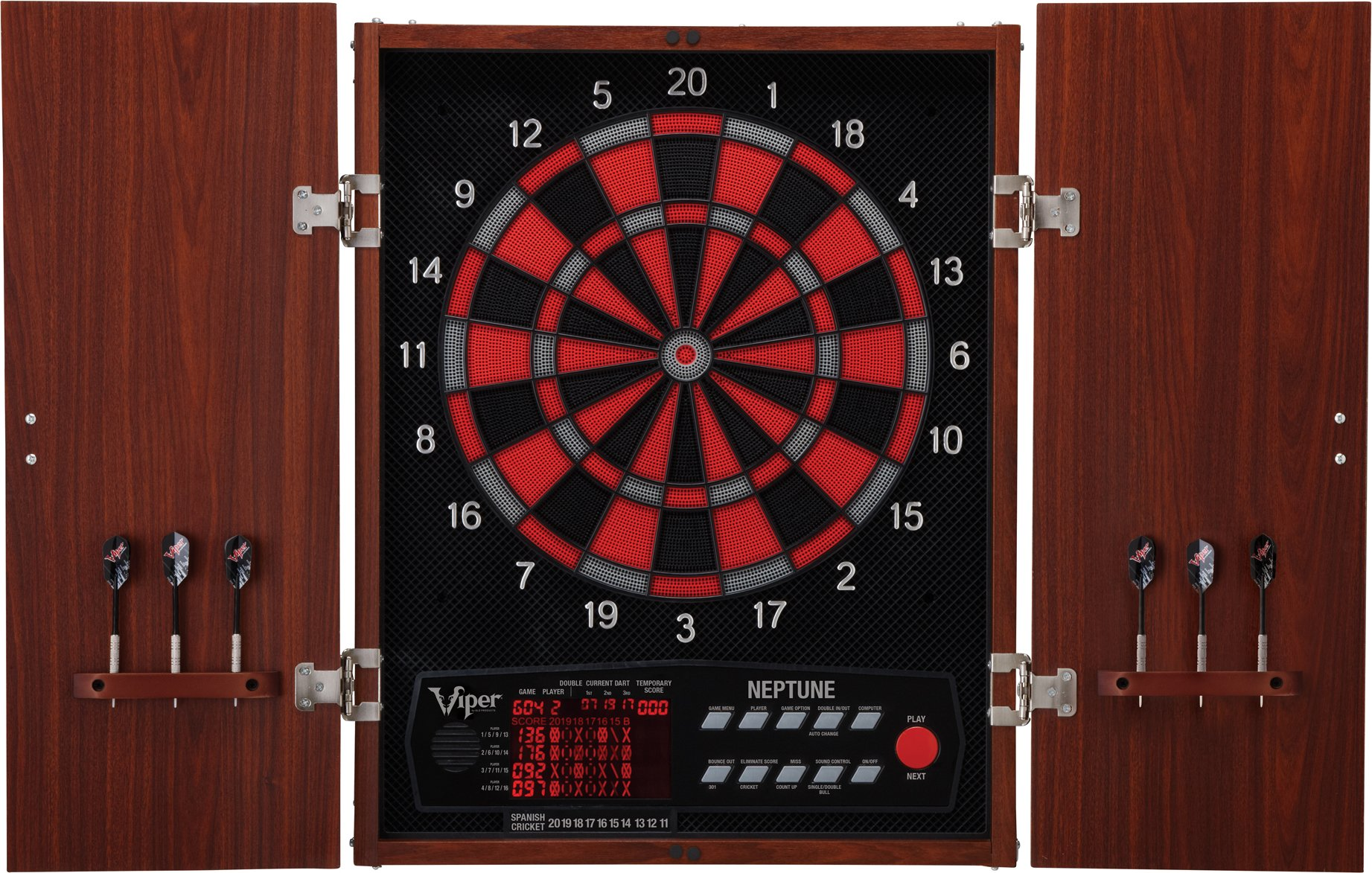 Viper Neptune Electronic Soft Tip Dartboard with Cabinet by Viper