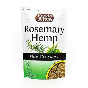 Flax Crackers, Rosemary Hemp, Organic, Keto-Friendly, 4oz (6-pack)