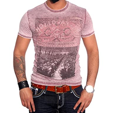 R-NEAL Clubwear Kurzarm Herren V-Neck T-Shirt Washed Optik Shirt RTN-16702  NEU: Amazon.de: Bekleidung