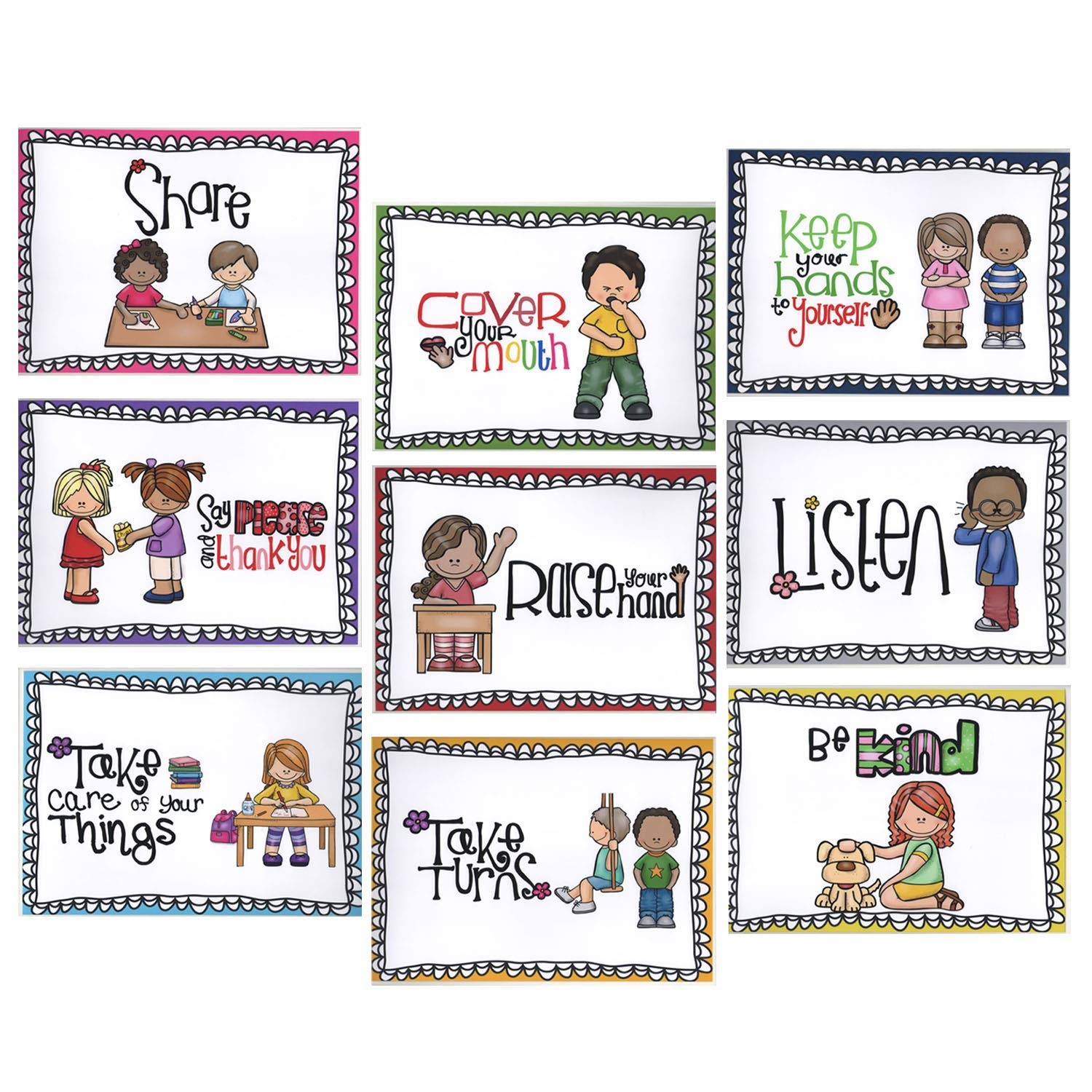 Alpurple 9 Packs A4 Size Class Rules Posters - A4 Size Classroom Rules Behavior Educational Posters,Good Habits Manners Chart for Preschool and Primary school Supplies