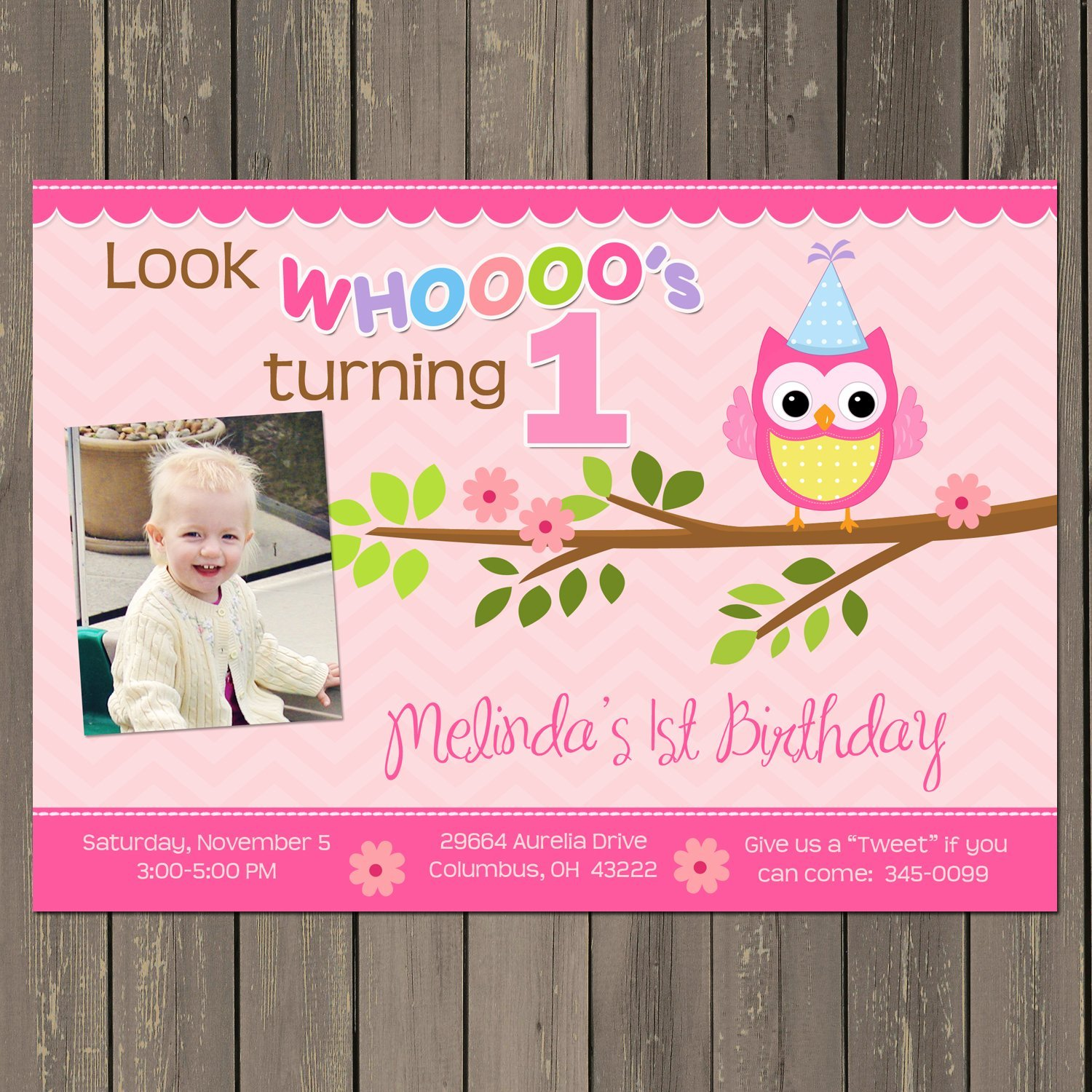 Gold and Pink Shabby Chic First Birthday First Birthday Invitation Owl Invitations Baby/'s First Birthday Owl First Birthday Invitations