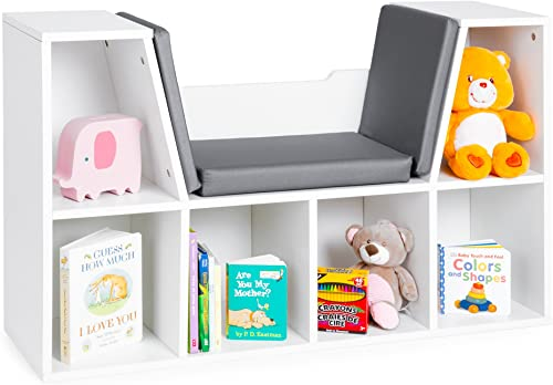 Best Choice Products Multi-Purpose 6-Cubby Kids Bedroom Storage Organizer Bookcases Shelf Furniture Decoration w Cushioned Reading Nook, White