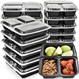Meal Prep Containers 3 Compartment - Plastic Food Containers for Meal Prepping - Divided Lunch Containers Food Prep Containers - Reusable Food Storage Containers with lids Bento Lunch Box [15 Pack]