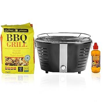 Oramics Grill para balcón y Terraza, mesa Barbacoa con carbón vegetal en negro, Carbón