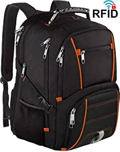 17.3 inch Travel Laptop Backpack for Men, Extra Large Capacity Backpack with USB Charger Port,TSA Friendly Flight Approved,RFID Anti-Theft,Water Resistant,Traveling & Business College School Bookbag