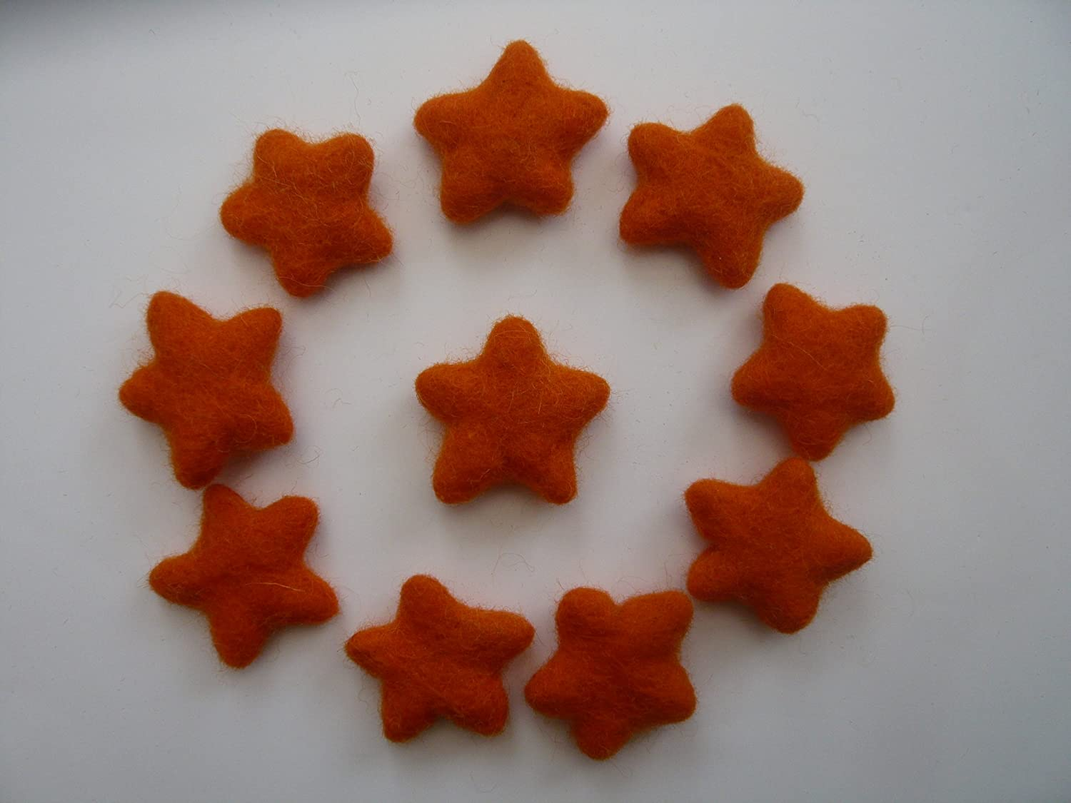 3cm 10 Count Rainbow Colours Hand Felted Stars 100/% Wool Felt Stars