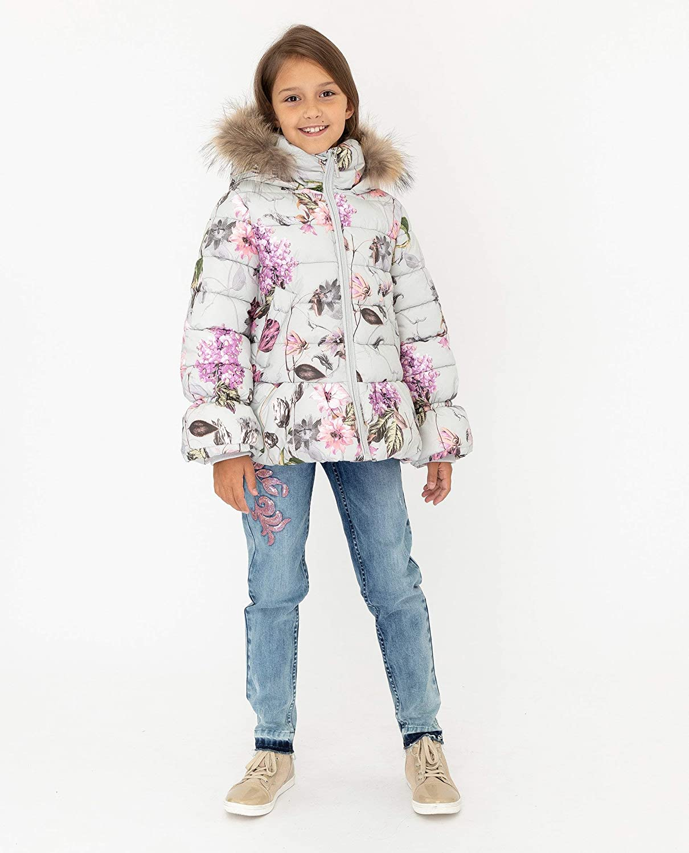 per 9-12 Anni Piumino Invernale da Bambina Impermeabile Gulliver con Motivo Floreale e Cappuccio in Pelliccia