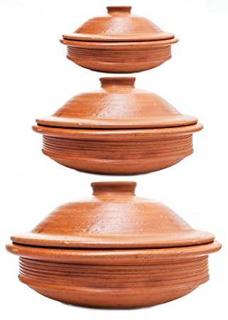 Craftaman India Online 1L, 2L and 3L Terracotta Clay Pots for Cooking(Red) Kadhai & Woks at amazon