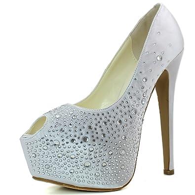 Amazon.com | Women's Sexy Peep Toe Stiletto High Heel Satin Shine ...