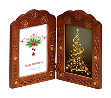 vintage look double photo frame for 3x5 pictures hand carved solid mango wood picture frame carved solid mango wood