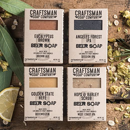 Beer Soap Gift Set, Four Bars. Vegan Palm-Free Soap. 100% All-Natural Handmade.