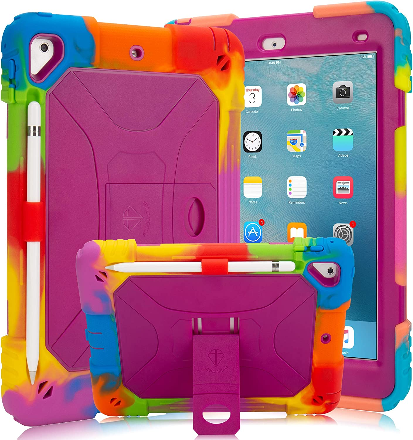 New iPad 9.7 2018/2017 Case iPad 6th/5th Generation Case iPad Air 2 Case with Pencil Holder and Kickstand Heavy Duty Hybrid Shockproof Kids Case Cover for Apple iPad 9.7 inch/Air 2 -Rainbow Purple