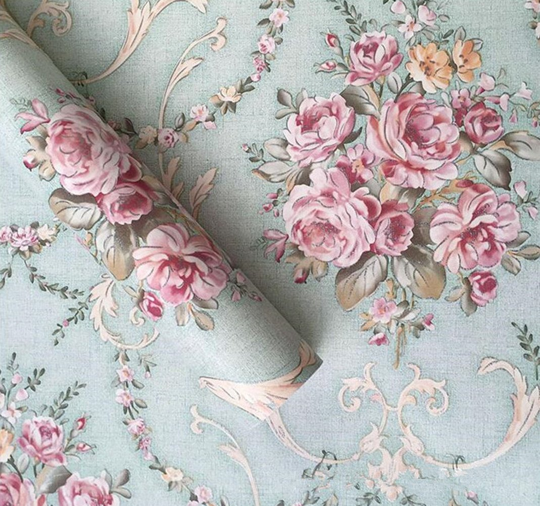 Amao Light Green Damask Floral Peel and Stick Self-Adhesive Wallpaper Contact Paper Sticker for Home Kitchen Holiday Decor 17.7''x78.7'' by Amao (Image #1)