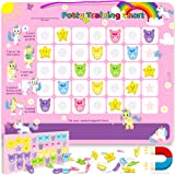 PutskA Potty-Training-Magnetic-Reward-Chart for Toddlers - Potty Chart with Multicolored Unicorn & Star Stickers…