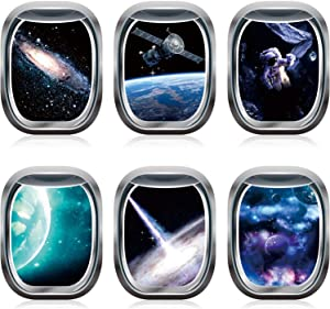 6 Pieces Space Capsule Window Wall Poster Outer Space Decor 3D Astronaut Outer Space Poster Mural Wall Decoration Kids Nursery Bedroom Space Posters Decor, 16 x 12 Inch