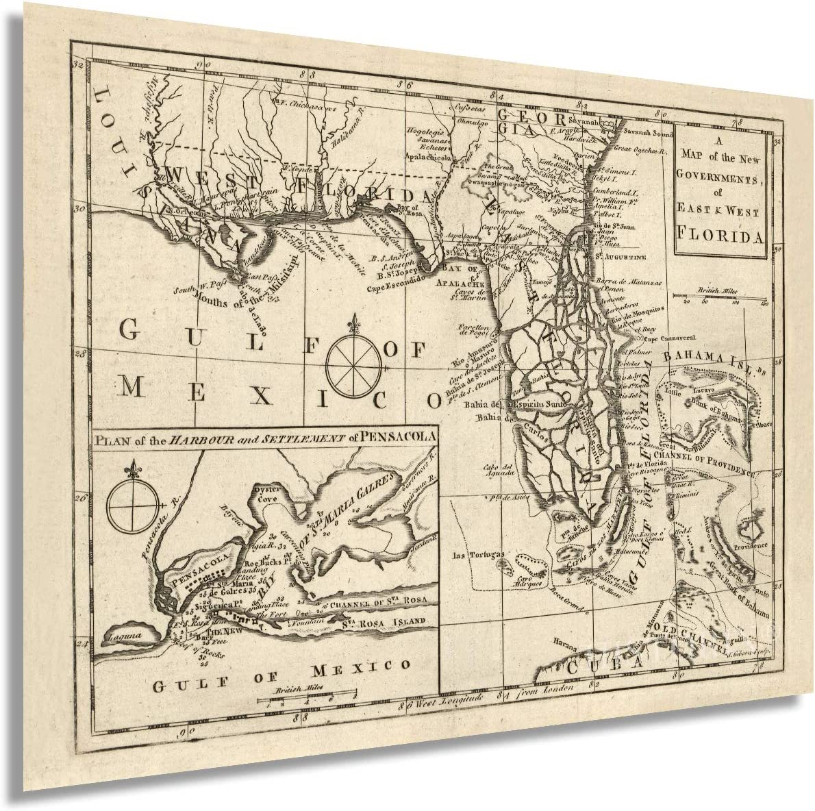 Historix Vintage 1763 East & West Florida Map - 18 x 24 Inch Vintage Map Wall Art - A Map of the New Governments Vintage Florida Map - Florida Map Wall Art - Vintage Florida Poster (2 sizes)