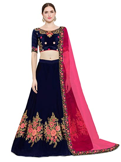 652e27a30fbe55 KEDARFAB Women's Cotton Silk Embroidery Lehenga Choli with Blouse Piece  (Free Size, Blue Pink): Amazon.in: Clothing & Accessories