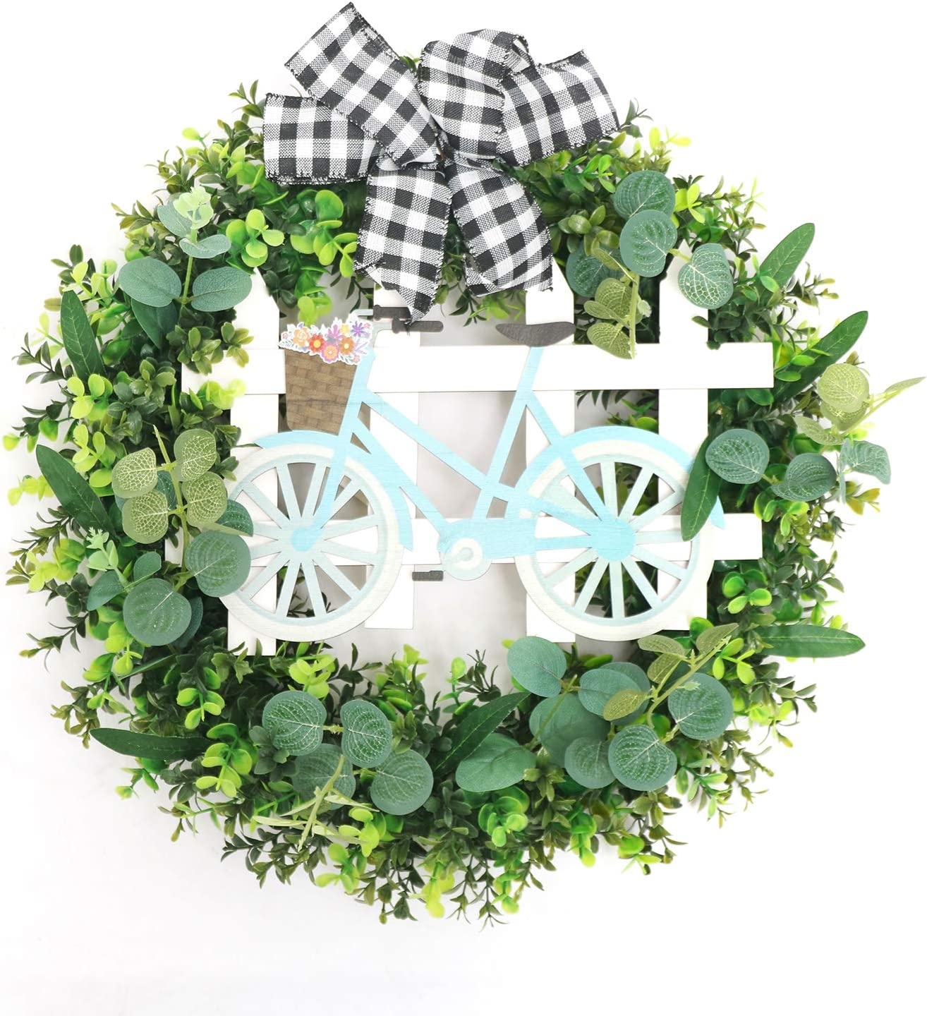 Super Holiday Artificial Green Leaves Wreath, 17.7Inch Boxwood Wreaths for Outdoor/Indoor-Rustic Home Decor for Front, Door, Wall, Window, Wedding.