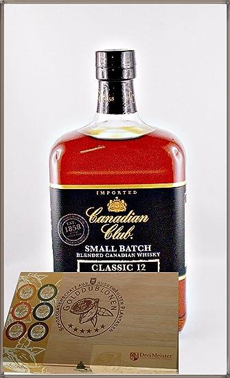 Canadian Club 12 Jahre Small Batch Whisky mit 45 DreiMeister Edel Schokoladen im Holzkistchen, kostenloser Versand