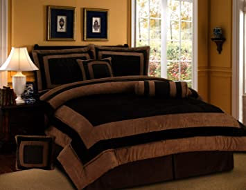 7 pieces chocolate brown suede comforter set california cal king bedding set bedin - California King Bedding Sets