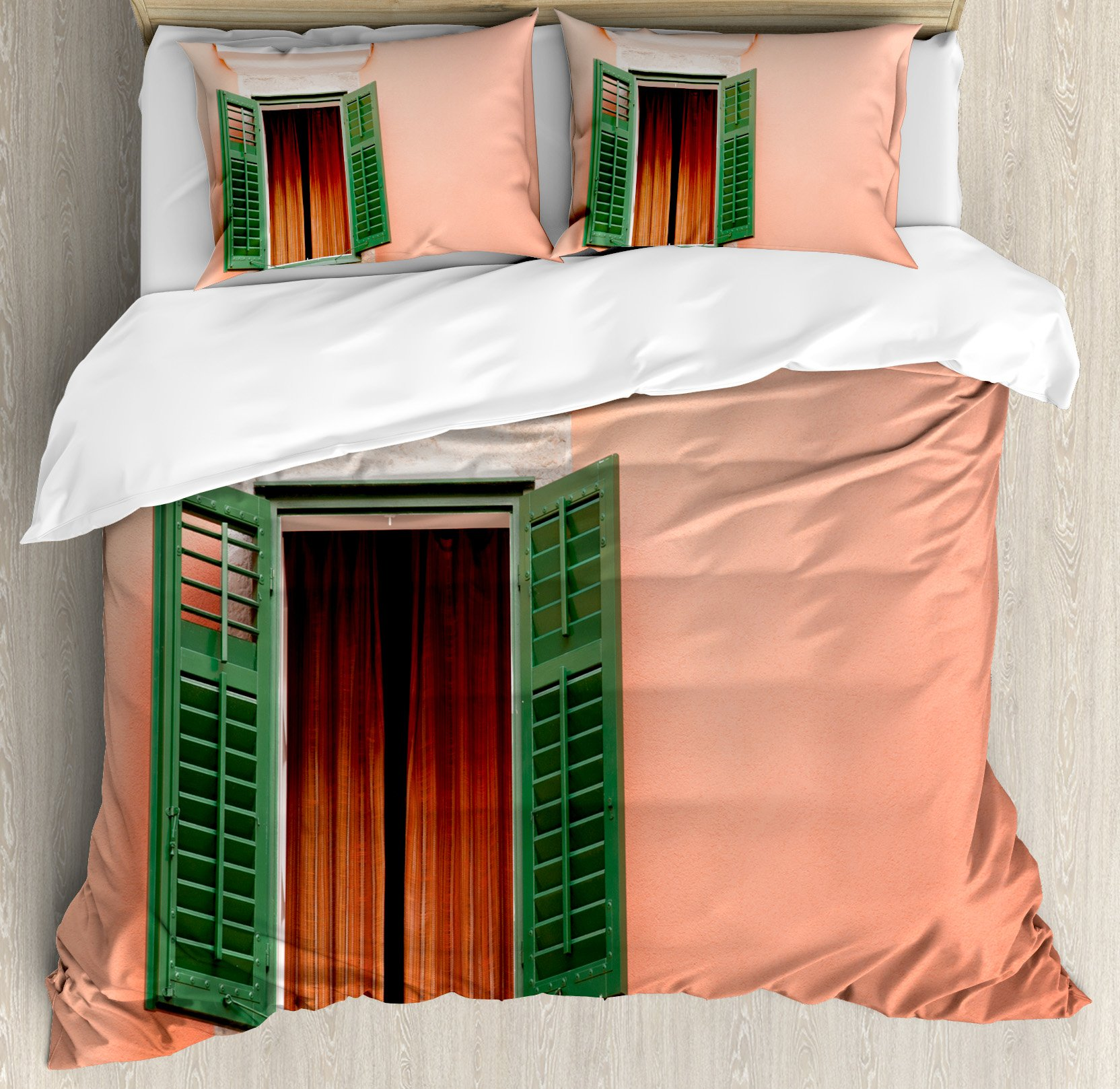Shutters Decor Duvet Cover Set by Ambesonne, Mediterranean Style Image of Window and Shutters Old House Rurals Home Deco, 3 Piece Bedding Set with Pillow Shams, Queen / Full, Orange Green White