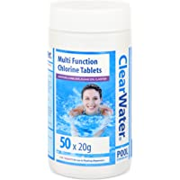 Clearwater CH0019 1 kg Multifunction Chlorine Tablets for Pools and Hot Tubs, White, 50 x 20 g
