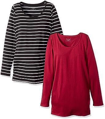 a5be3dc532 Motherhood Maternity Women's Maternity BumpStart 2 Pack Long Sleeve Tee  Shirts, Beet Red and Black