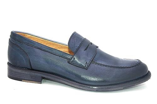 pick up d1a32 ce73c Exton 3106 Jeans Scarpa Uomo Mocassino College Pelle Blu ...