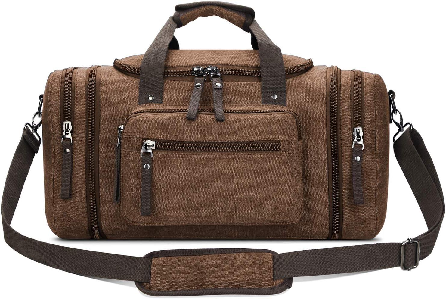 Toupons Canvas Travel Duffel Bag Men's Weekender Overnight Bag (Coffee)