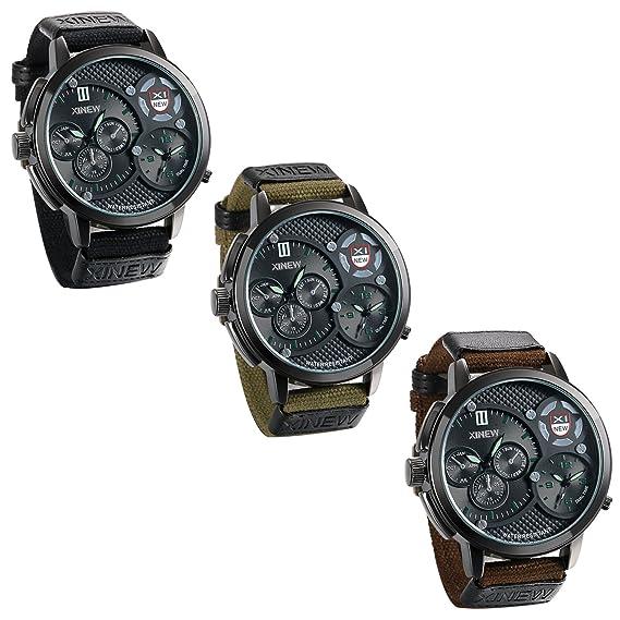 JewelryWe – Juego de 3 al por mayor para hombre relojes de estilo militar Dual Time