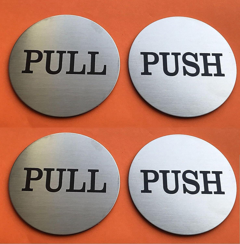 Do4U 3 Brushed Stainless Round Premium Horizontal Push Pull Door Sign Push/Pull Set - Stainless Steel (1 Pair)