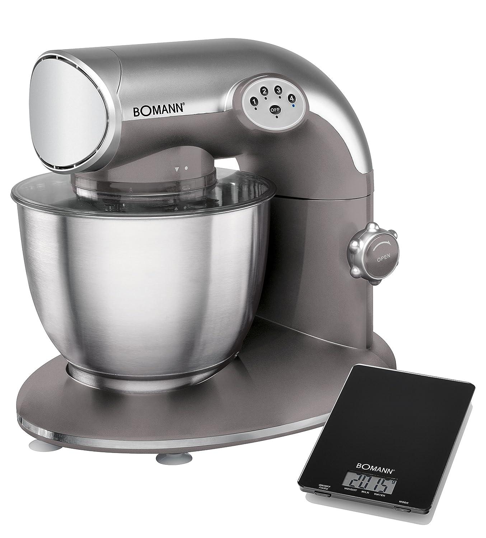 Bomann KM 305 CB-Robot pasticcere, 5,6 l, 5 Velocità, 1200 W, Bilancia da cucina, colore: titanio