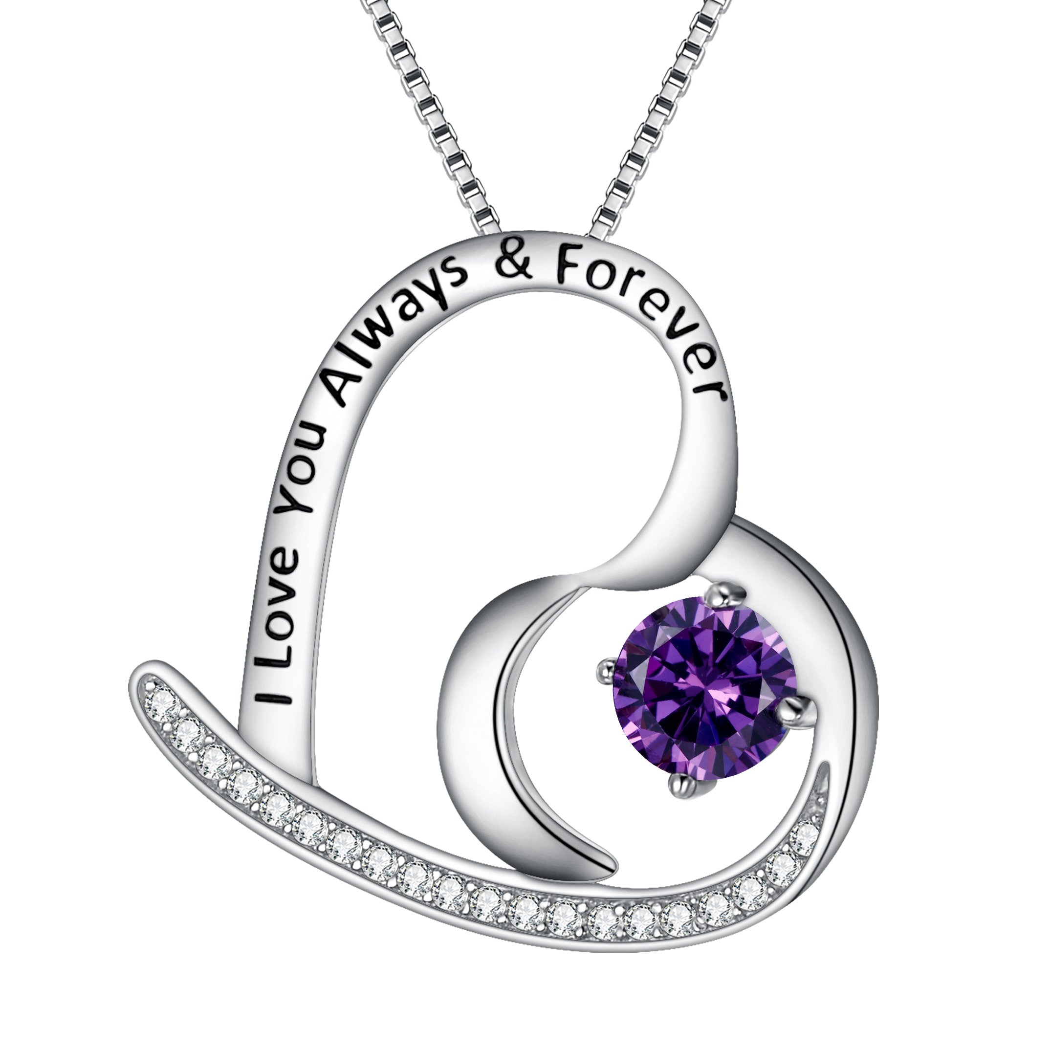 BriLove 925 Sterling Silver Heart Necklace for Women,''I Love You Always & Forever'' Engraved CZ Pendant Necklace Amethyst Color Feburary Birthstone