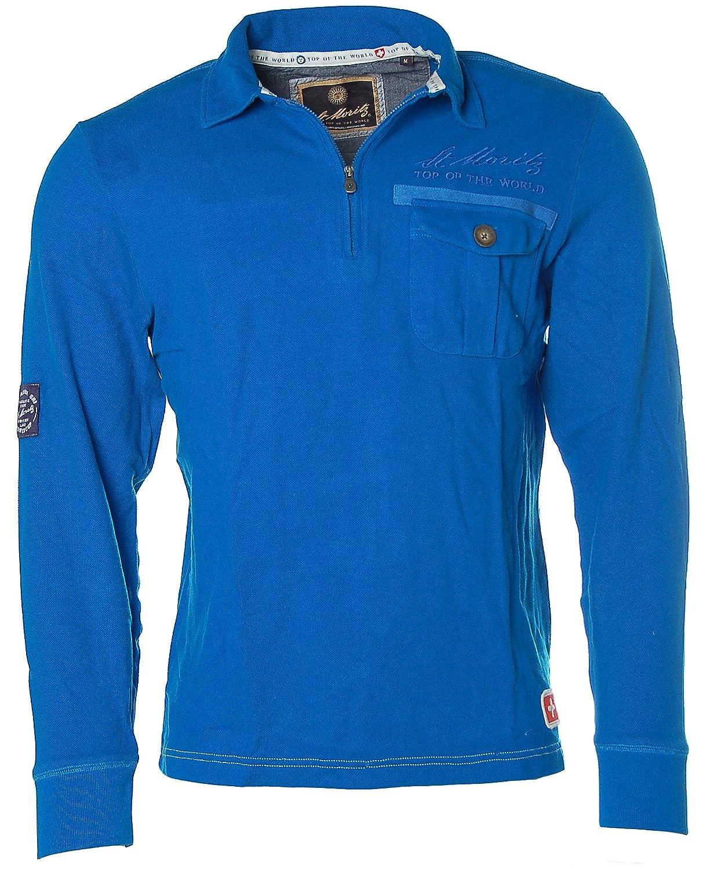 ST. MORITZ Herren Langarm Shirt Poloshirt Polokragen Pikee FIS Alpine Ski
