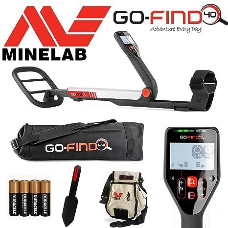 Detector de metales MINELAB go-find 40, con bolsa, pala de cavar,
