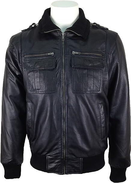 UNICORN Hombres Genuino real cuero chaqueta Negro #K3 Tamaño 44: Amazon.es: Ropa y accesorios