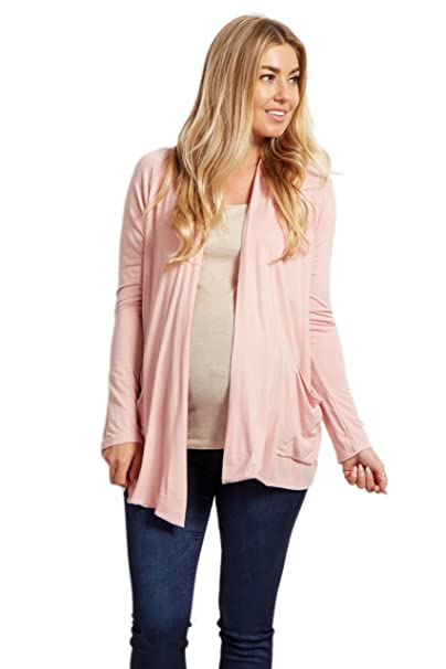 5dac5d9348787 Image Unavailable. Image not available for. Color  PinkBlush Maternity  Light Pink Basic Front Pocket Maternity Cardigan
