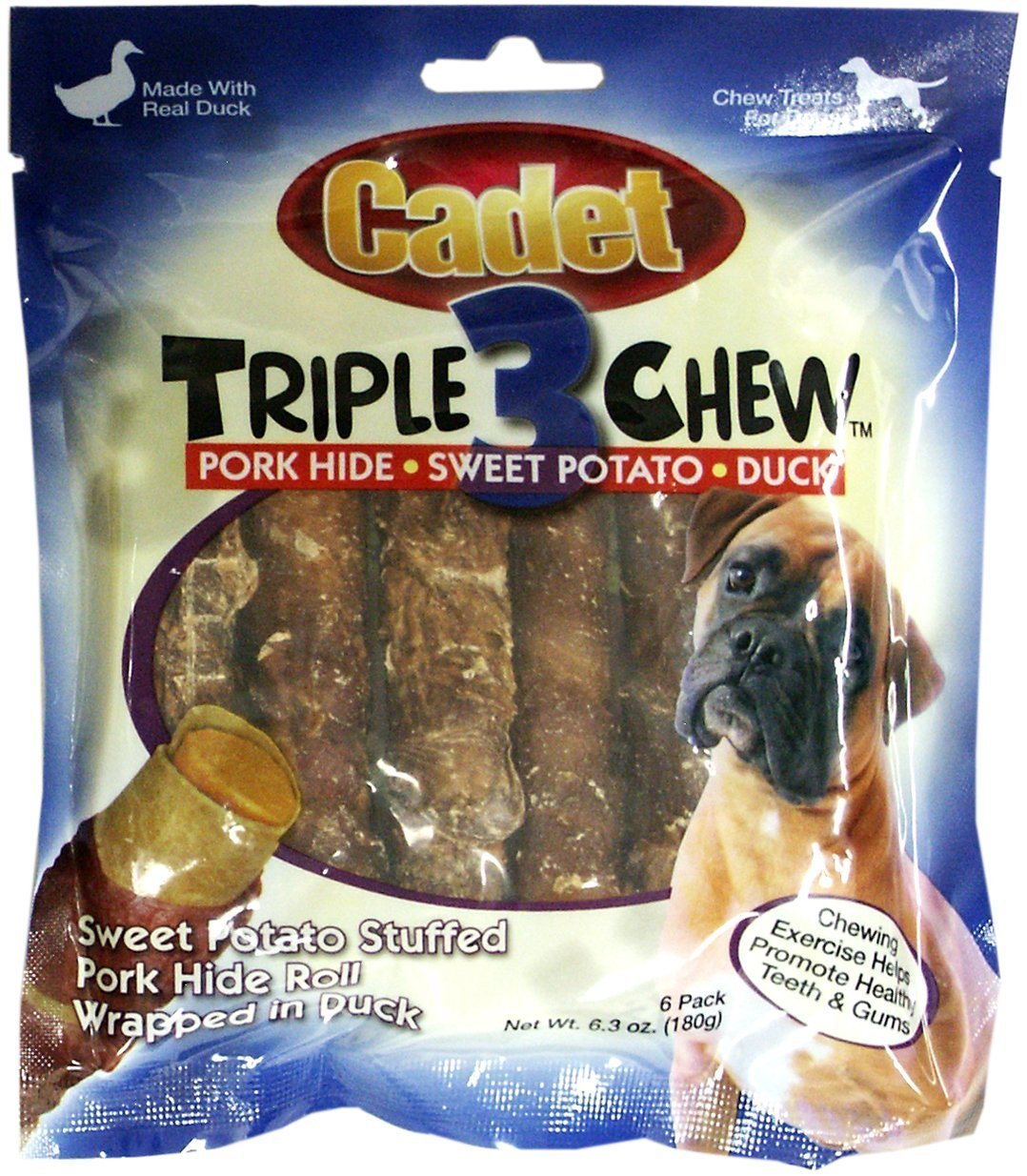 Pack of 2 Cadet Duck Triple Chew Dog Treats Size Pack of 2
