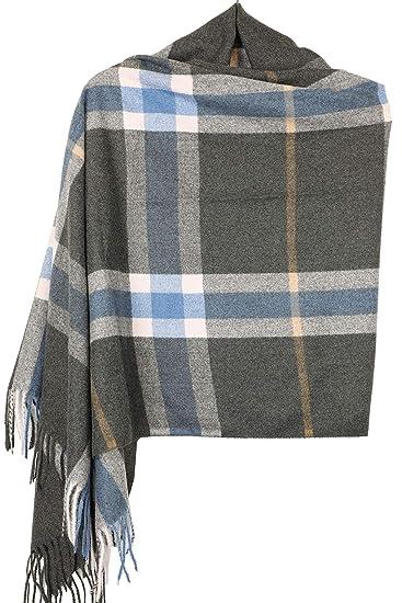 0e92139676349 Achillea Classic Giant Check Plaid Cashmere Feel Scarf Winter Warm Shawl  Wrap (Oblong Charcoal Grey