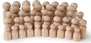 Koalabu Natural Unfinished Wooden Peg Doll Bodies, Quality People Shapes, Great for Arts and Crafts, Birch and Maple Wood Turnings, Artist Set of 40 in 5 Different Shapes and Sizes