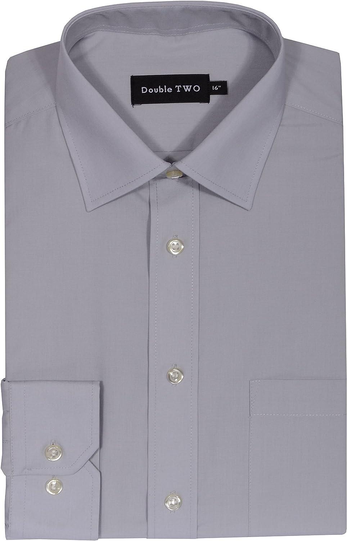 Double Two Doble Dos plata gris no necesita planchado Camisa para hombre vestir: Amazon.es: Ropa y accesorios