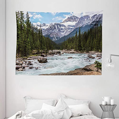Ambesonne Americana Landscape Decor Tapestry, Limestone Creek in The Alberta Cold Winter Time Adventure Image Print, Wall Hanging for Bedroom Living Room Dorm, 80 W X 60 L Inches, Multi
