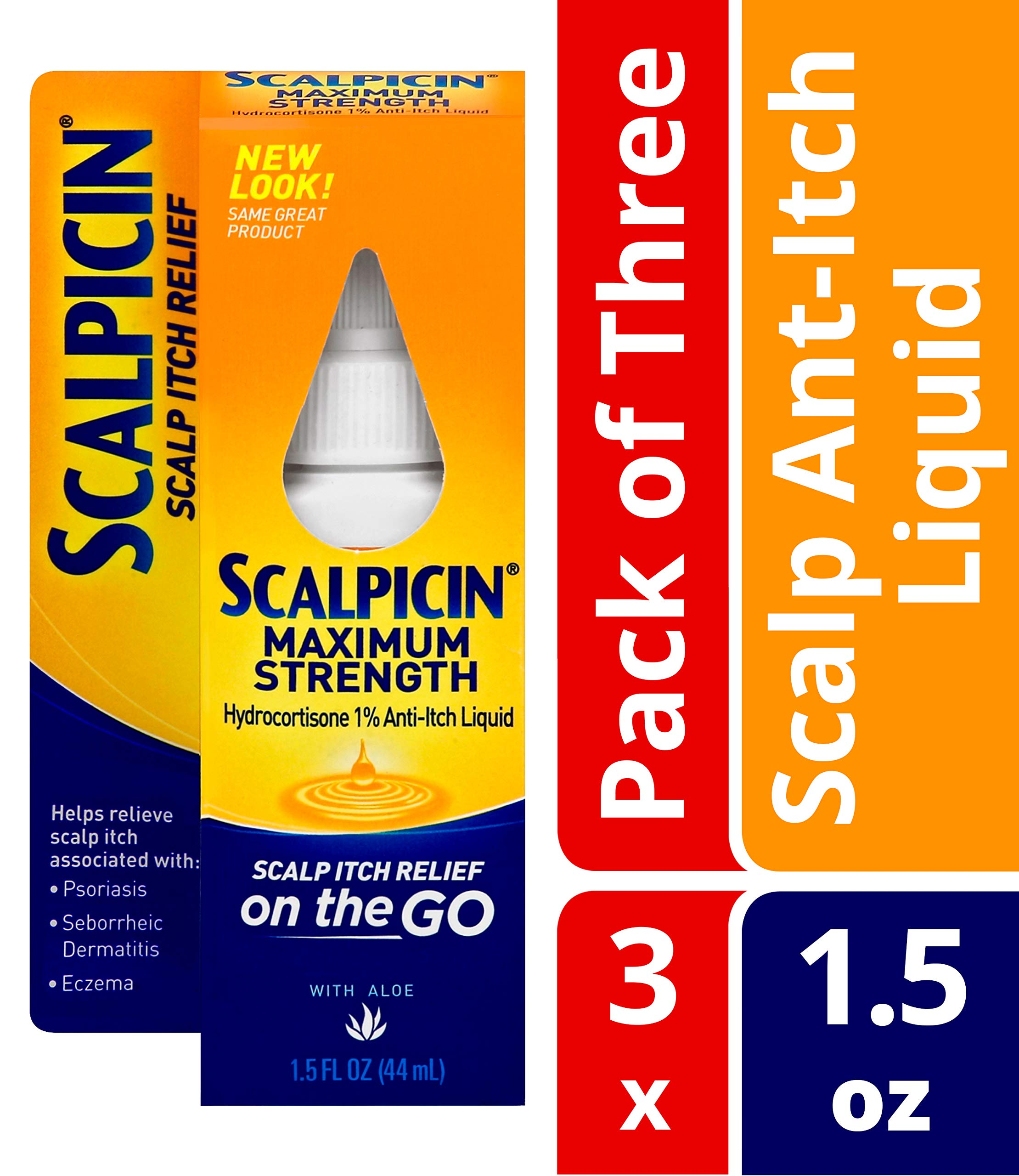 Scalpicin Maximum Strength Scalp Itch Liquid Treatment- For Relief From Itchy Scalp, Psoriasis, Eczema & Seborrheic Dermatitis With Hydrocortisone & Aloe Vera, 1.5 oz. (Pack of 3) by Scalpicin