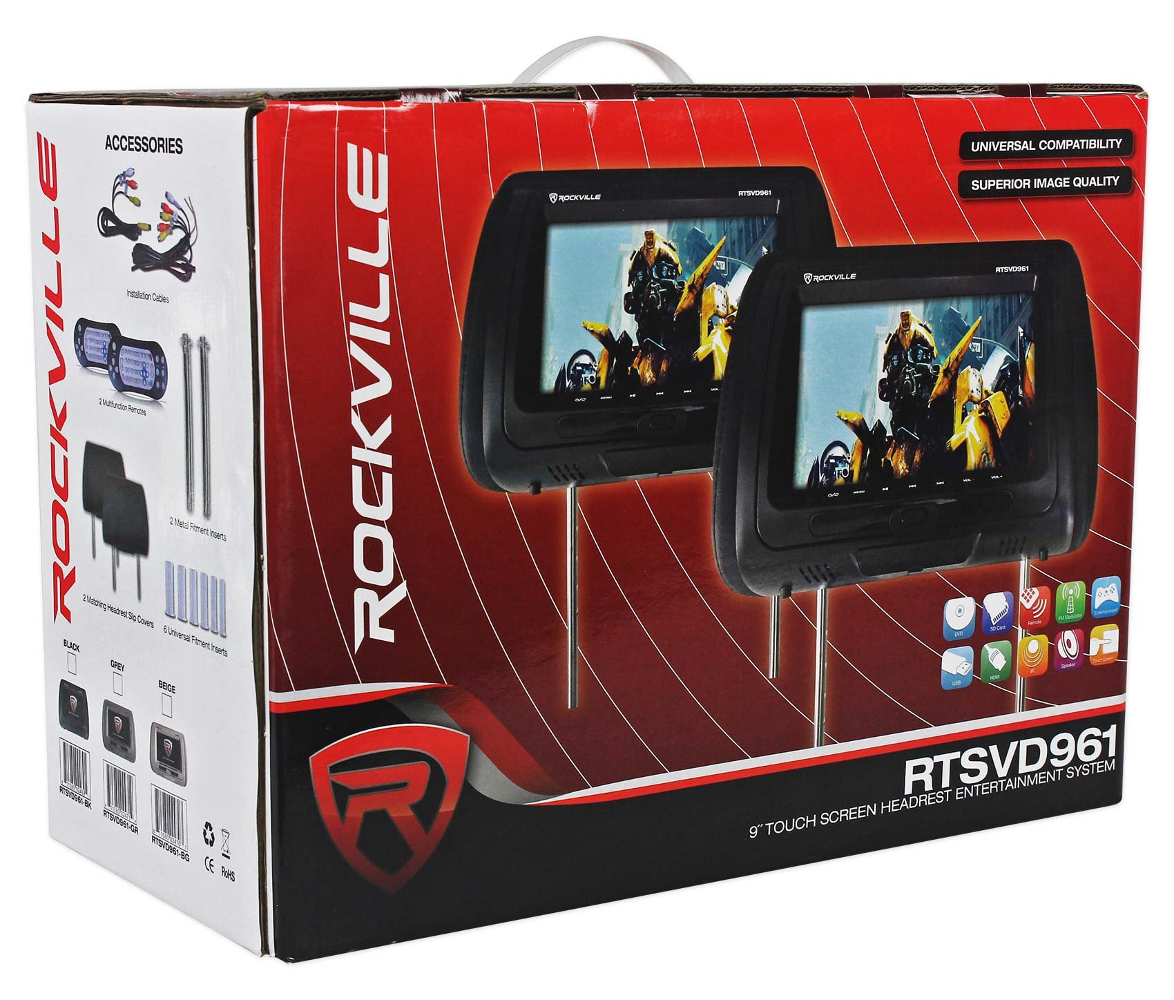 "Rockville RTSVD961-BK 9"" Black Touchscreen Dual DVD/HDMI Car Headrest Monitors by Rockville (Image #6)"