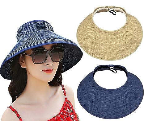 17b8e1063c4 Loritta 2 Pack Women s Wide Brim Roll Up Floppy Beach Straw Sun Hat Visor  Cap