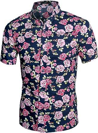 uxcell Camisa Hawaiana De Playa Estampado Floral Manga Corta Botones Abajo Ajustado para Hombre: Amazon.es: Ropa y accesorios