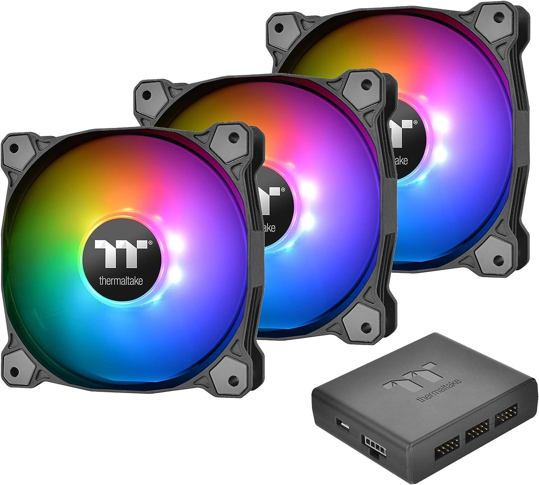 Thermaltake Pure Plus 14 LED RGB - Ventilador para radiador (Paquete de 3) Color Negro